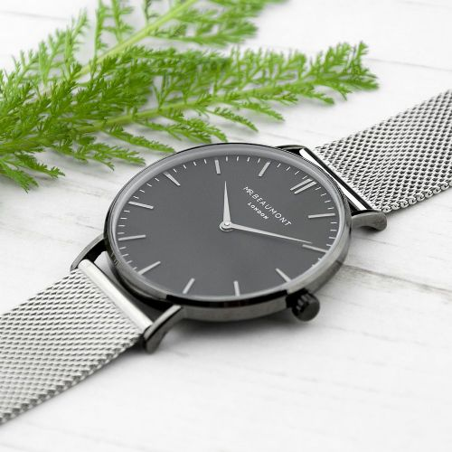 Men's Metallic Silver Watch With Black Face